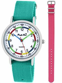 Pacific Time Kinder Lernuhr Analog Quarz mit 2 Textilarmband 10017 Türkis Rosa von Pacific Time
