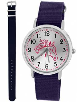 Pacific Time Kinderuhr Analog Quarz mit 2 Textilarmband 10026 Violett Blau von Pacific Time