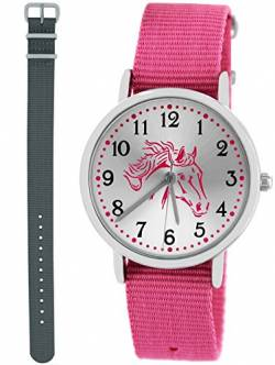 Pacific Time Kinderuhr Analog Quarz mit 2 Textilarmband 10030 Rosa Grau von Pacific Time