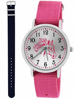 Pacific Time Kinderuhr Analog Quarz mit 2 Textilarmband 10031 Rosa Blau von Pacific Time