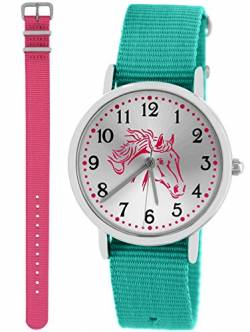 Pacific Time Kinderuhr Analog Quarz mit 2 Textilarmband 10032 Türkis Rosa von Pacific Time