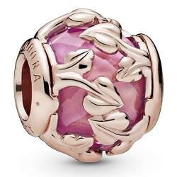 Leaves Pandora Rose charm with encased pink synthetic sapphire von Pandora
