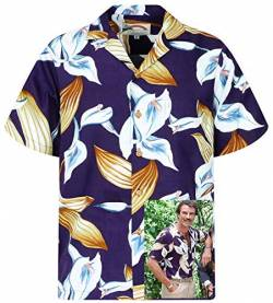 Tom Selleck Original Hawaiihemd, Kurzarm, Calla Lily, Violett, XXL von Paradise Found