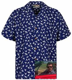 Tom Selleck Original Hawaiihemd, Kurzarm, Dragonfly, Blau, XS von Paradise Found