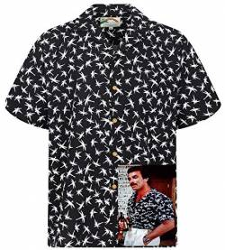 Tom Selleck Original Hawaiihemd, Kurzarm, Dragonfly, Schwarz, 3XL von Paradise Found