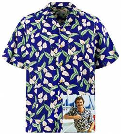 Tom Selleck Original Hawaiihemd, Kurzarm, Grüne Blätter auf Blau New, Blau, 3XL von Paradise Found
