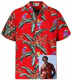 Tom Selleck Original Hawaiihemd, Kurzarm, Jungle Bird, Rot, M von Paradise Found