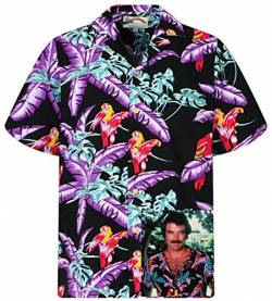 Tom Selleck Original Hawaiihemd, Kurzarm, Jungle Bird, Schwarz, 4XL von Paradise Found