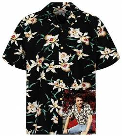 Tom Selleck Original Hawaiihemd, Kurzarm, Star Orchid, Schwarz, XS von Paradise Found