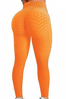 Pau1Hami1ton Damen Leggings, Sporthose Fitnesshose Training Laufhose Sport Tights Hohe Taille Yogahose GP-11(Orange,2XL) von Pau1Hami1ton