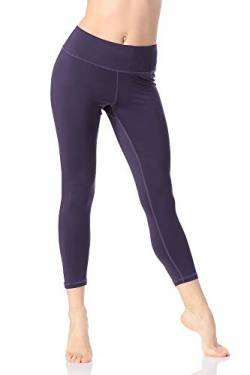 Pau1Hami1ton Damen Yoga Leggings 3/4, Hohe Taille Capri Sport Leggins, Fitnesshose Training Tights Laufhose GP-07(Purple,S) von Pau1Hami1ton