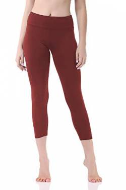 Pau1Hami1ton Damen Yoga Leggings 3/4, Hohe Taille Capri Sport Leggins, Fitnesshose Training Tights Laufhose GP-07(Red,M) von Pau1Hami1ton