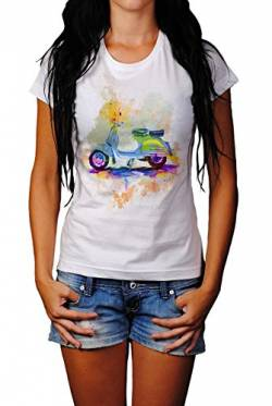 Vespa Damen T- Shirt, Stylisch aus Paul Sinus Aquarell Color von Paul Sinus Art