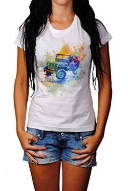 Vintage Jeep Wrangler Damen T- Shirt, Stylisch aus Paul Sinus Aquarell Color von Paul Sinus Art