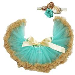 Petitebelle Aqua Blue Gold Baby Skirt Tutu Girl Clothing with Headband Set 3-12m (Aqua Blau) von Petitebelle