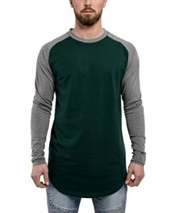 Blackskies Baseball Longsleeve T-Shirt | Langes Oversize Fashion Basic Langarm Raglan Herren Longshirt Long Tee Melliert - Grün-Grau Medium M von Blackskies