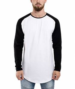 Blackskies Baseball Longsleeve T-Shirt | Langes Oversize Fashion Basic Langarm Raglan Herren Longshirt Long Tee Melliert - Weiß-Schwarz X-Large XL von Blackskies