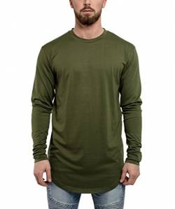 Blackskies Side Zip Langarm T-Shirt | Langes Oversize Fashion Basic Longsleeve Herren Longshirt Long Tee mit Reißverschluss - Olive Grün Medium M von Blackskies