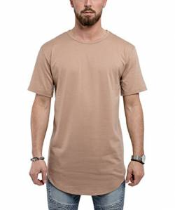 Blackskies Round Basic Longshirt | Langes Oversize Fashion Langarm Herren T-Shirt Long Tee - Desert Beige Medium M von Blackskies
