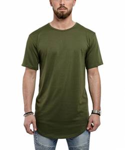 Blackskies Round Basic Longshirt | Langes Oversize Fashion Langarm Herren T-Shirt Long Tee - Olive Grün Medium M von Blackskies