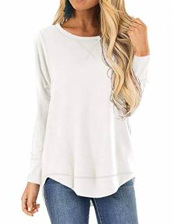 QAKEHU Damen 3/4 Arm Shirt Longsleeve Basic Shirt Rundhals Stretch-Viskose WhiteXL von QAKEHU