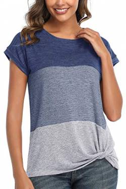 QAKEHU Damen Kurzarm T-Shirt Color Block Twist Casual Blusen und Tops Blue S von QAKEHU