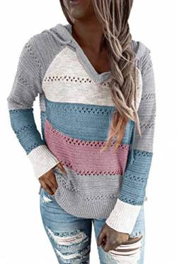 QAKEHU Frauen Lightweight Color Block Hooded Sweaters Hoodies Pullover Sweatshirts Pullover A-Pink/Blue S von QAKEHU