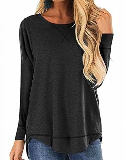 QAKEHU Damen 3/4 Arm Shirt Longsleeve Basic Shirt Rundhals Stretch-Viskose Black XL von QAKEHU