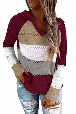 QAKEHU Pullover Damen Strick Hoodies Hollow Out Pullover Pullover V-Ausschnitt Pullover Color Block Knit Oversized Sweatshirt A-Wine red XL von QAKEHU