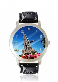 The Eiffelturm in Paris Mini Design Gaming Herrenuhr Dünn Slim Minimalist Armbanduhr für Frauen Mode Wasserdicht Analog-Kleid Lederarmband Geschenk von Qickly