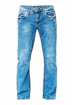 R-Neal Herren Jeans Hose Regular Fit New York Light Blue Used Blau Stretch Dicke Naht Freizeit -46, Hosengröße:38/32 von R-Neal