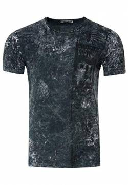 Rusty Neal Herren T-Shirt Rundhals All Over Print Tee Shirt Kurzarm Regular Fit Stretch 100% Baumwolle S M L XL XXL 3XL 234, Farbe:Anthrazit, Größe:M von R-Neal
