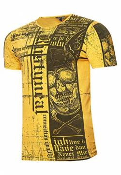 Rusty Neal T-Shirt Oil Washed Vintage Shirt Front X Back Print Skull Rundhals Baumwolle Regular 259, Farbe:Orange, Größe:2XL von R-Neal