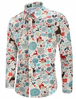 RAISEVERN Herren Weihnachten Fun Shirts Santa Schneeflocken Glocken Print Slim Fit Langarm Businesshemd XXL von RAISEVERN