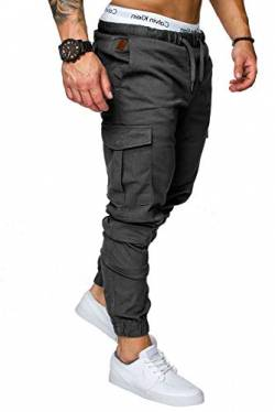 REPUBLIX Herren Cargo Jogger Chino Hose Pants Mit Stretch R0701 Anthrazit W34 von REPUBLIX