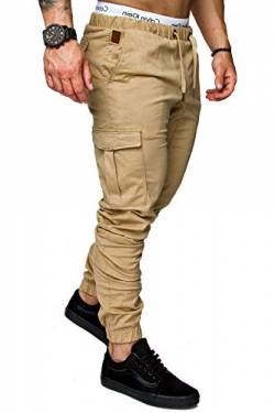 REPUBLIX Herren Cargo Jogger Chino Hose Pants Mit Stretch R0701 Beige W29 von REPUBLIX