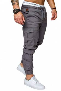 REPUBLIX Herren Cargo Jogger Chino Hose Pants Mit Stretch R0701 Dunkelgrau W32 von REPUBLIX