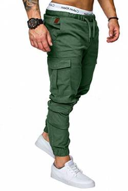 REPUBLIX Herren Cargo Jogger Chino Hose Pants Mit Stretch R0701 Khaki W34 von REPUBLIX