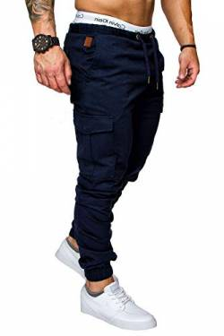 REPUBLIX Herren Cargo Jogger Chino Hose Pants Mit Stretch R0701 Navyblau W30 von REPUBLIX