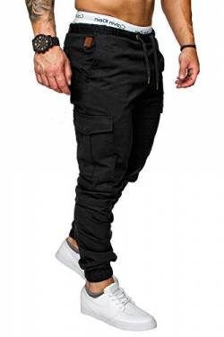 REPUBLIX Herren Cargo Jogger Chino Hose Pants Mit Stretch R0701 Schwarz W38 von REPUBLIX