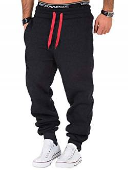 REPUBLIX Herren Sporthose Jogger Jogginghose Sweatpants Trainingshose R0704 Anthrazit/Rot L von REPUBLIX