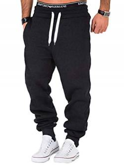REPUBLIX Herren Sporthose Jogger Jogginghose Sweatpants Trainingshose R0704 Anthrazit/Weiß L von REPUBLIX
