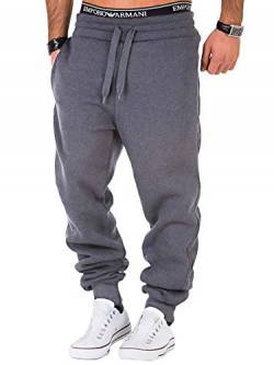 REPUBLIX Herren Sporthose Jogger Jogginghose Sweatpants Trainingshose R0704 Dunkelgrau L von REPUBLIX