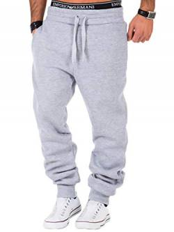 REPUBLIX Herren Sporthose Jogger Jogginghose Sweatpants Trainingshose R0704 Hellgrau L von REPUBLIX