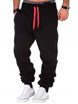 REPUBLIX Herren Sporthose Jogger Jogginghose Sweatpants Trainingshose R0704 Schwarz/Rot M von REPUBLIX