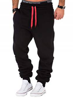 REPUBLIX Herren Sporthose Jogger Jogginghose Sweatpants Trainingshose R0704 Schwarz/Rot S von REPUBLIX