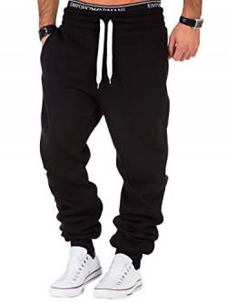 REPUBLIX Herren Sporthose Jogger Jogginghose Sweatpants Trainingshose R0704 Schwarz/Weiß 4XL von REPUBLIX