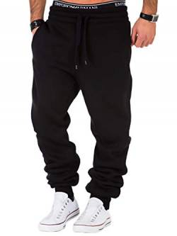 REPUBLIX Herren Sporthose Jogger Jogginghose Sweatpants Trainingshose R0704 Schwarz 3XL von REPUBLIX