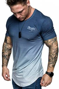 REPUBLIX Oversize Herren Crew Neck Body-Fit Waterfall Design Shirt Sommer T-Shirt Rundhals-Ausschnitt R-0037 Navyblau/Weiß XL von REPUBLIX