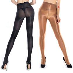 RICHTOER 2 Pairs Shaping Socks Oil Socks Shiny Silk Stockings Pantyhose Dance Tights (Champagne and Black) von RICHTOER